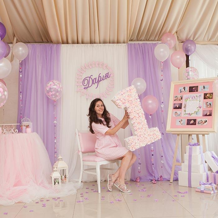 Фотозона 🎀 Сиренево-розовая фотозона для Дарии 🎈 аренда в Киеве