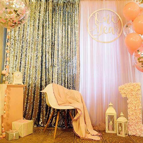 Фотозона 🍰 Фотозона на годик девочке 🎁 🎈 Розовое и Серебро в ресторане «Счастье» 🎂 аренда в Киеве