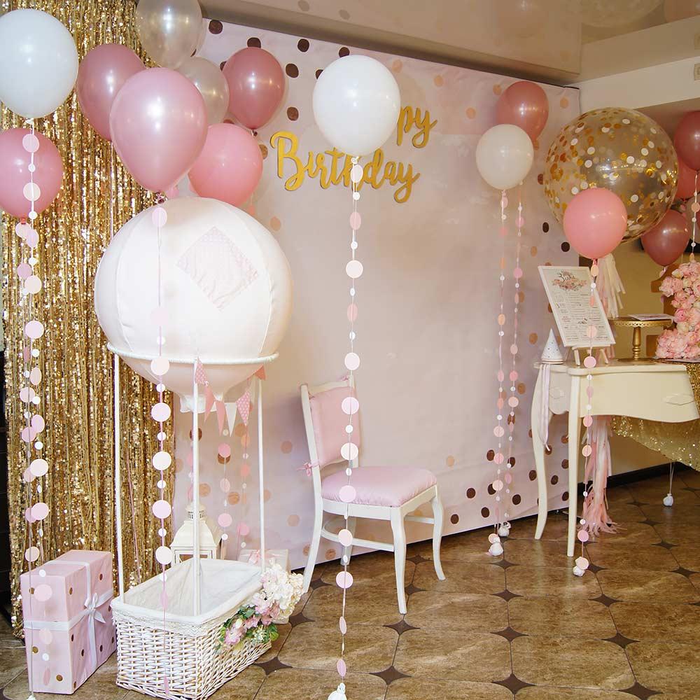 Фотозона 🎀🍭 Розовая с золотом фотозона в ресторане «Счастье» на годик девочке 🎂🎉 аренда в Киеве