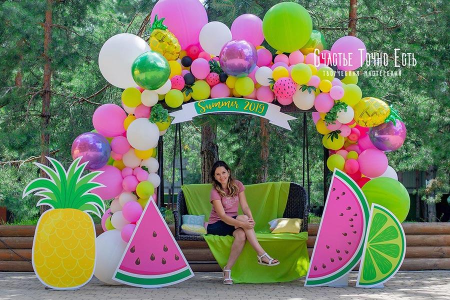 Фотозона 🌴🥝Тропическая фотозона 🍊🍉 с фруктами 🍍🍋 в Соби клаб аренда в Киеве