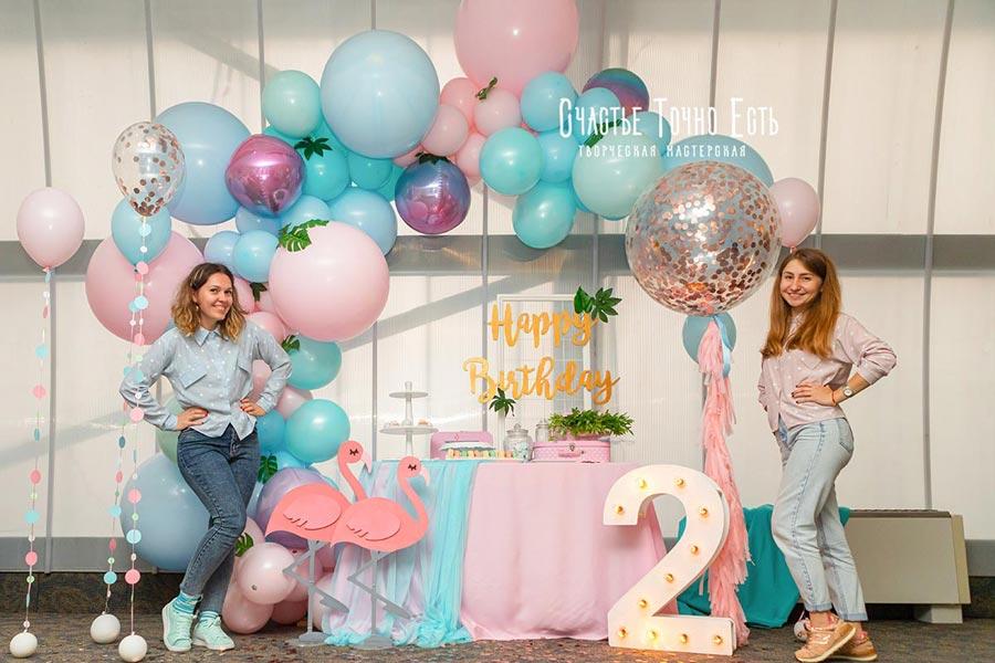 Фотозона Тропическая фотозона 🦩 с фламинго 🌴 для девочки 👧 аренда в Киеве