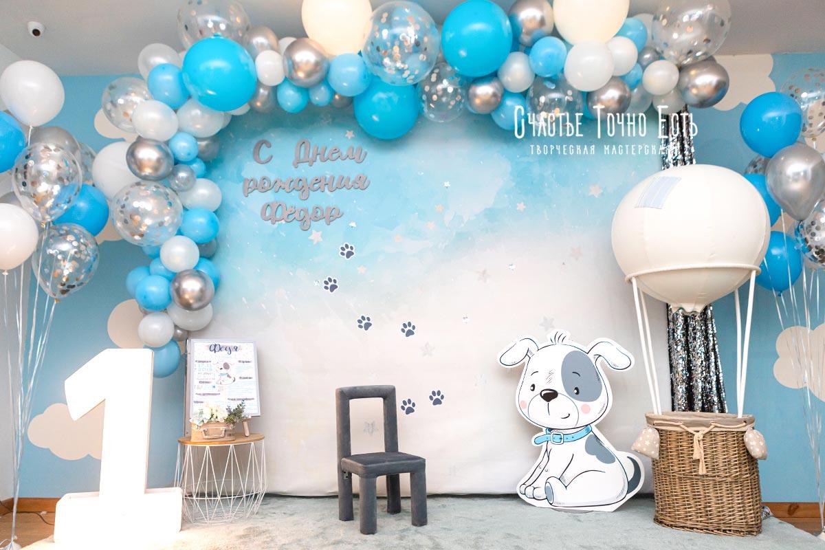 Фотозона 🎂 Фотозона в Фабиус для мальчика на годик с воздушным шаром и собачкой 🐶 аренда в Киеве