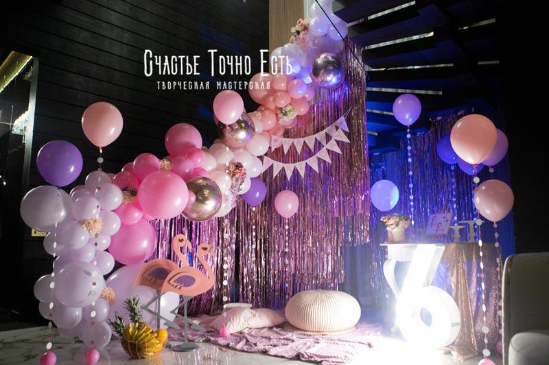 Фотозона Домашняя фотозона в стиле Pink party с фламинго и розовым дождиком аренда в Киеве