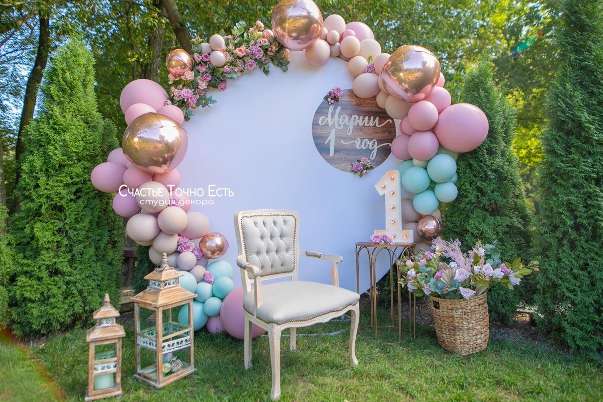 Фотозона Пудровая фотозона с цветами в Forrest Club аренда в Киеве