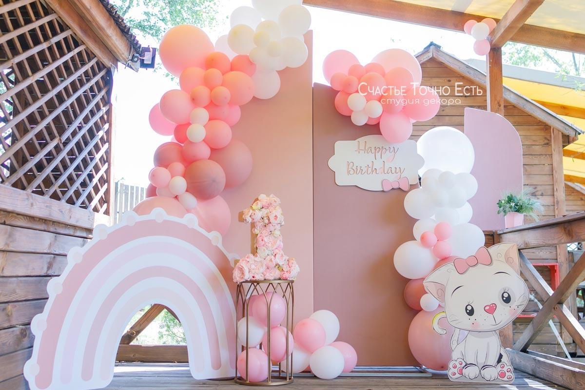 Фотозона Нежная розовая фотозона для девочки с котенком🐈 аренда в Киеве